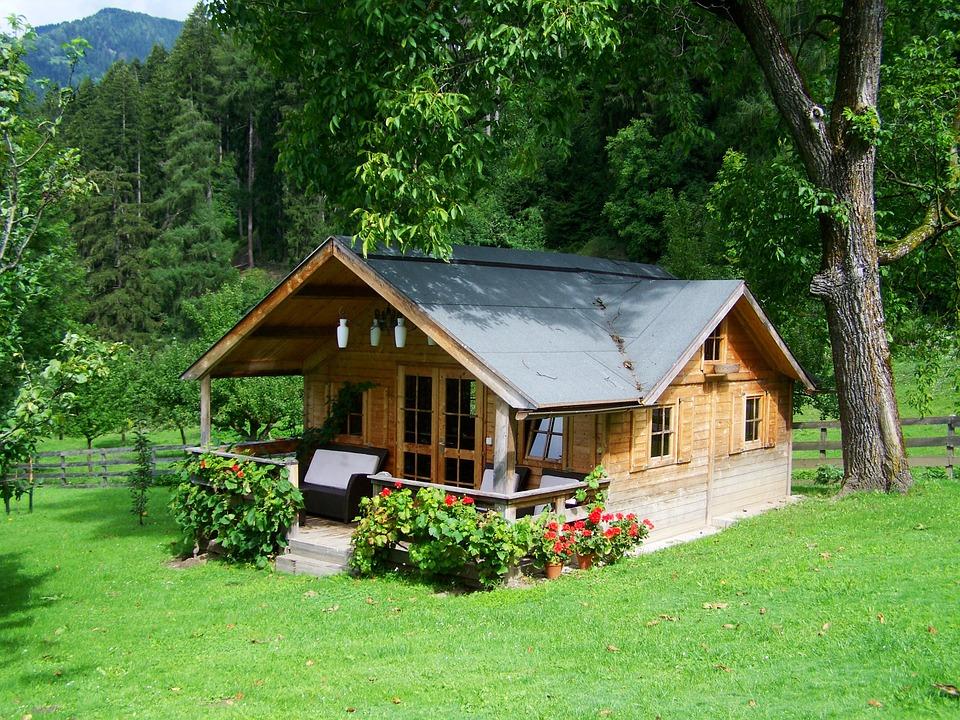 Majhna lesena hiška sredi gozda