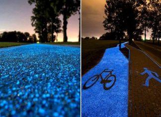 svetleča kolesarska steza