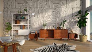 dnevna soba z tapeto iz trikotnikov