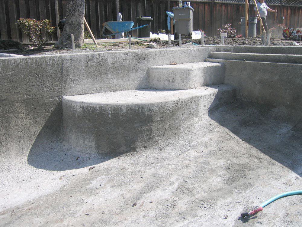 Primer betonskih sten in tal bazena