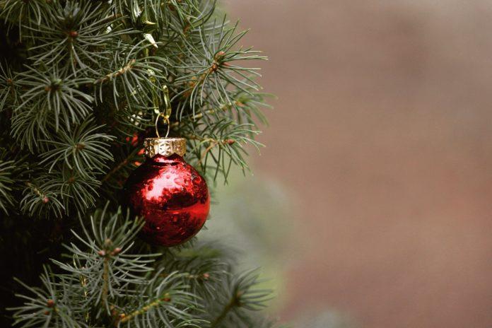 božično drevesce z okraskom