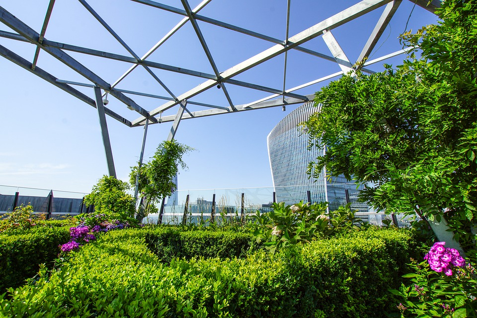Zelen vrt na strehi stolpnice