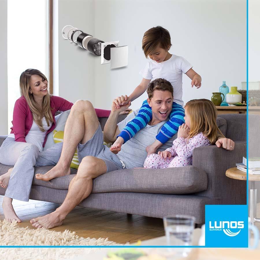 Družina uživa v igri na kavču, v ozadju je filter za zrak
