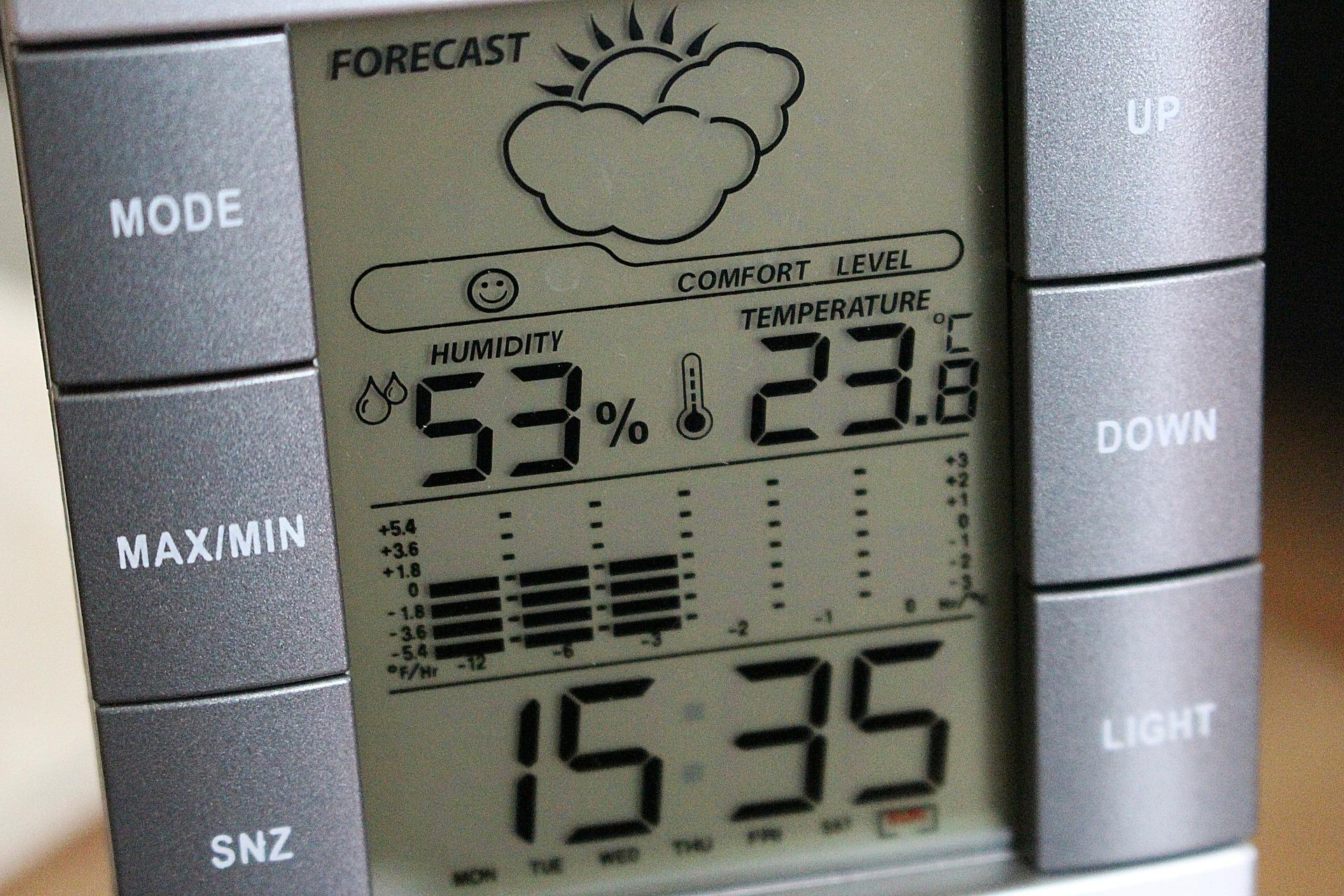 digitalna postaja s podatki o vremenu in vlagi v prostoru