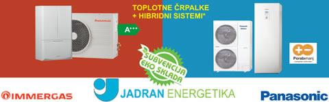 Toplotne črpalke + hibridni sistemi Immergas, Panasonic. Jadran Energetika